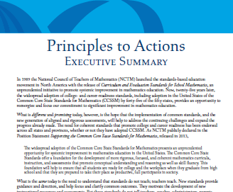 NCTM Principles to Actions Executive Summary