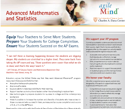 Advanced Mathematics Fact Sheet